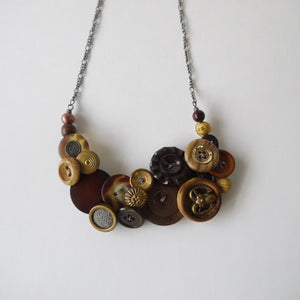 Load image into Gallery viewer, Vintage Button Statement Necklace Brown