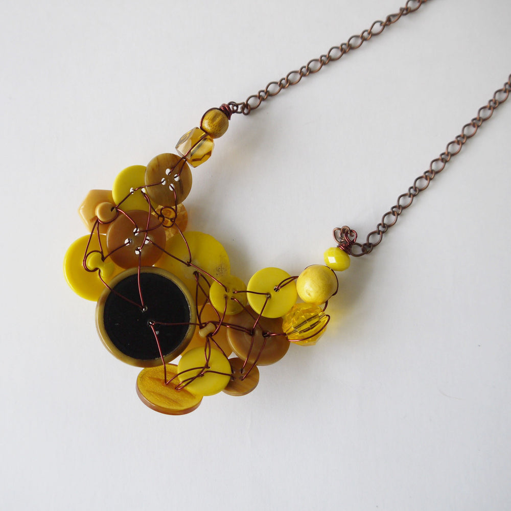 Vintage Button Necklace Yellow
