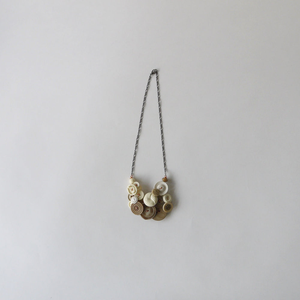 Vintage Button Necklace Beige and Cream