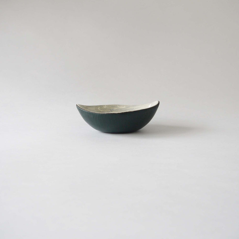 Vintage Italy ceramic bowl from 60s 70s,green leather outside,mid century modern