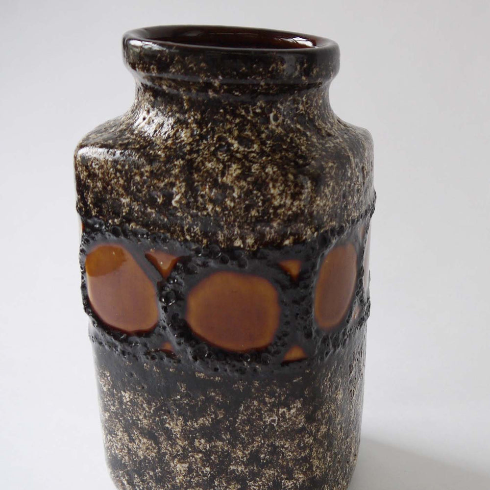 Vintage ceramic vase by Scheurich 216,brown black fat lava 70s German pottery
