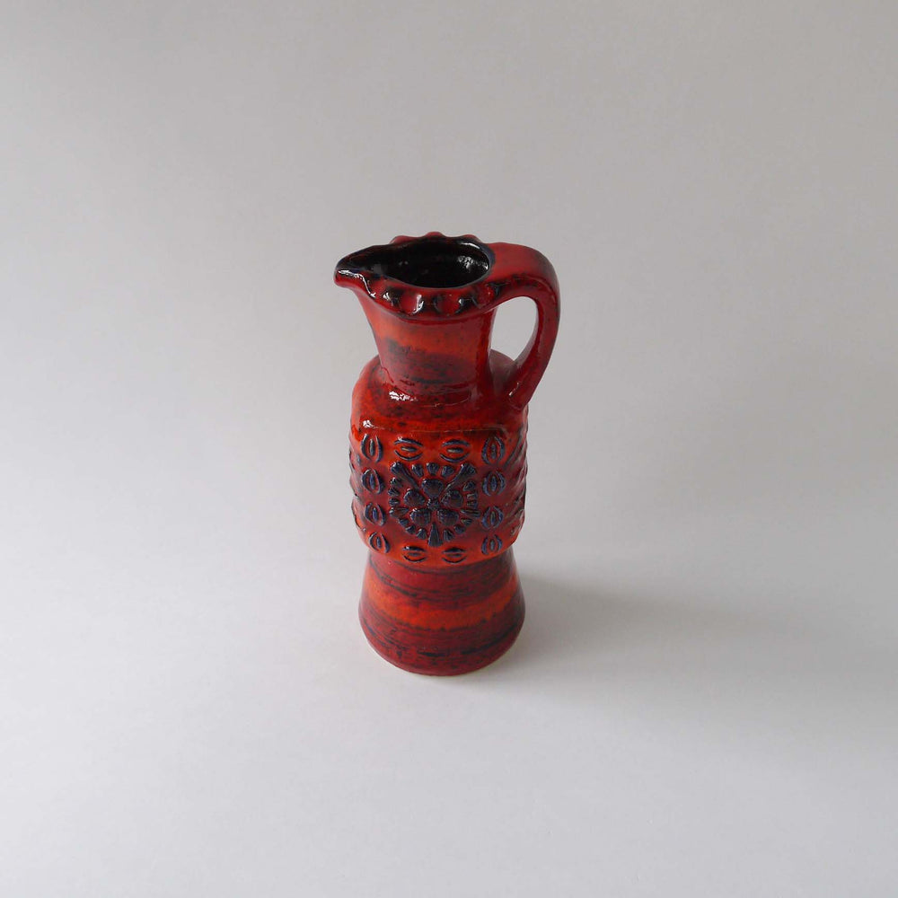 Vintage Duemler&Breiden ceramic vase,orange red blue WGP 70s German pottery