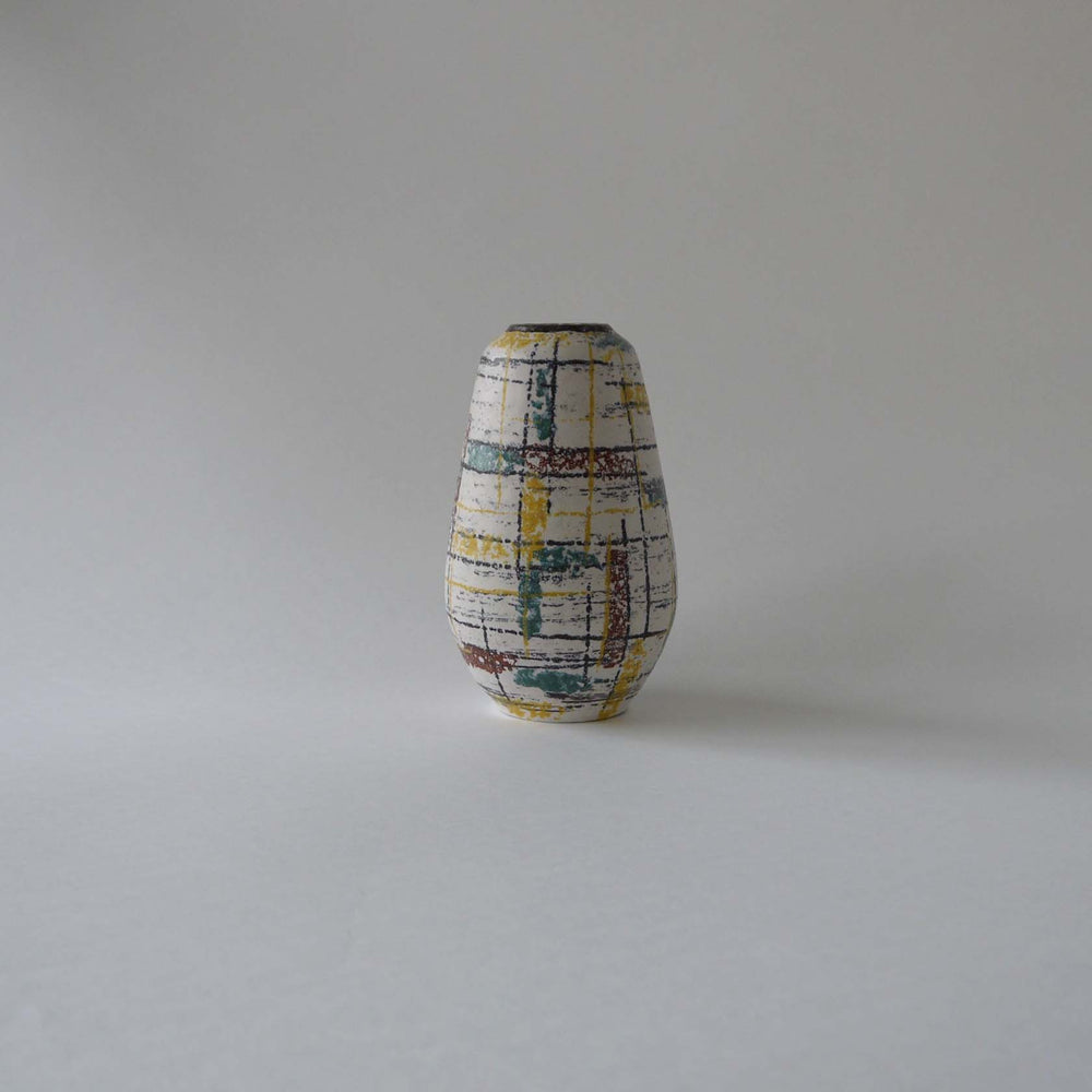 Vintage Mid century ceramic vase,50svintage,white with pastel decor west German pottery