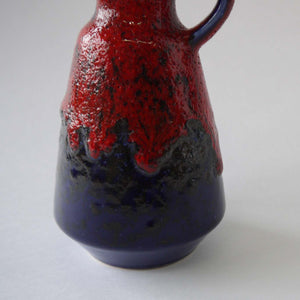 Load image into Gallery viewer, Vintage Red blue fatlava ceramic vase 70s west German pottery