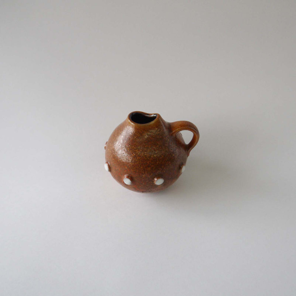 Load image into Gallery viewer, Vintage ceramic vase orange brown white dots, 60s70s west German pottery