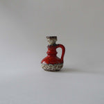 Vintage Red fatlava ceramic vase by jopeko, 70s west German pottery