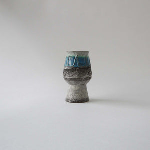Load image into Gallery viewer, Vintage Graywhite blue fatlava ceramic vase by Strehla,70sGermanpottery