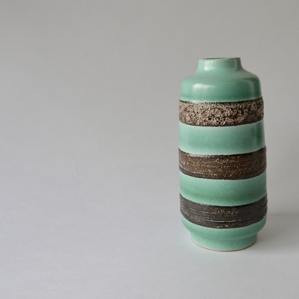 Load image into Gallery viewer, 1970's Vintage East German pottery Turquoise vintage ceramic vase