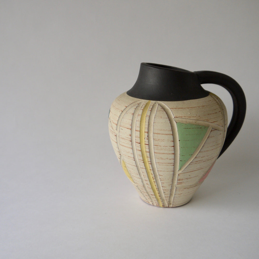 Load image into Gallery viewer, 1950's Vintage East German pottery black yellow ceramic vase