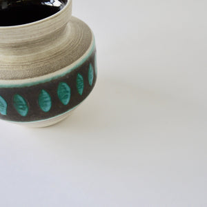 1970's Vintage East German pottery  gray black turquoise ceramic vase