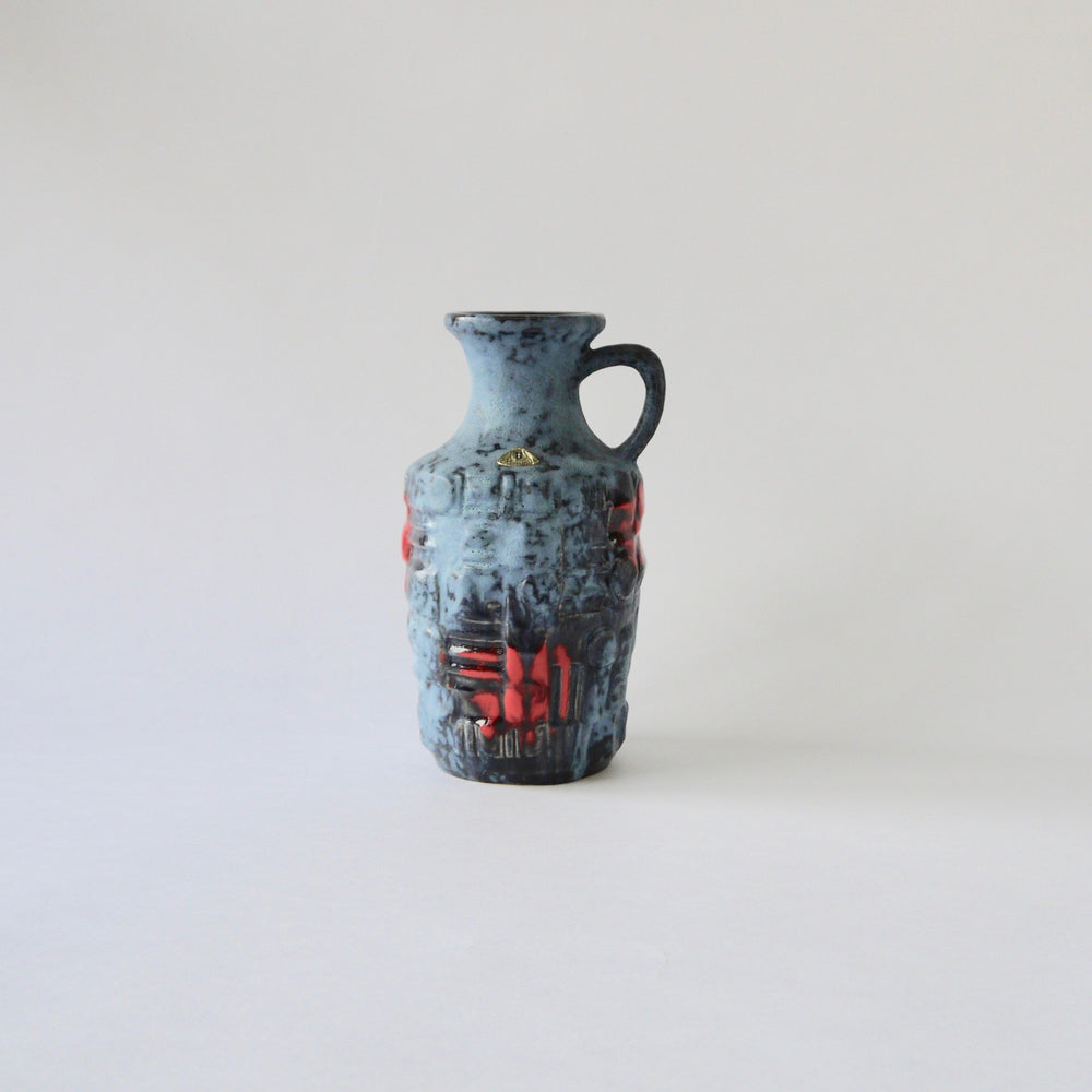 Load image into Gallery viewer, 1970's Vintage East German pottery gray red vintage ceramic vase