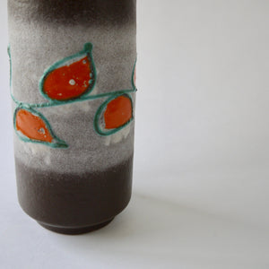 1970's Vintage East German pottery brown orange vintage ceramic vase