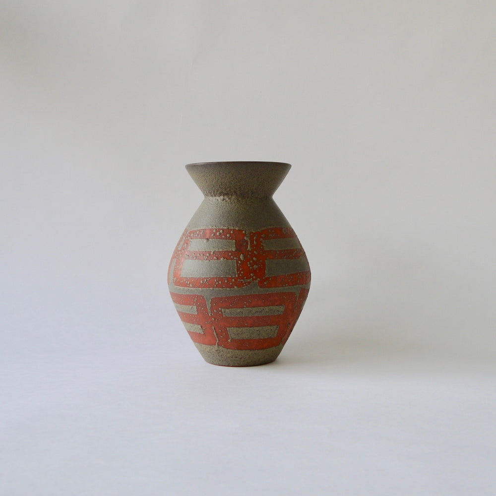 Load image into Gallery viewer, 1970's Vintage East German pottery ceramic vase,orange,green,gray