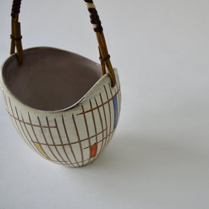 1950's Vintage East German pottery ceramic bowl with rattan handle