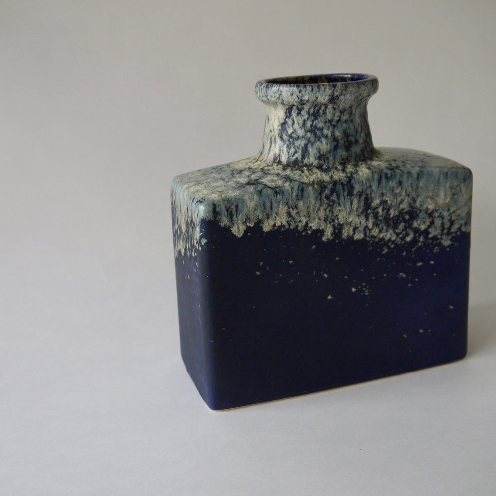 1970's Vintage East German pottery blue vintage ceramic vase