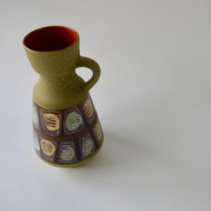 1950's Vintage East German pottery tall matt green ceramic vase