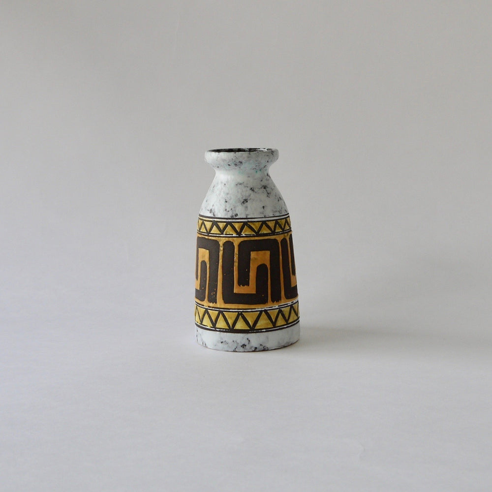 1970's Vintage East German pottery Yellow and white ceramic vase