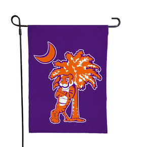 Clemson - Tiger and Palmetto Tree Purple Garden Flag