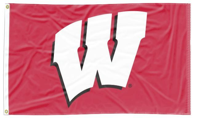 Wisconsin - W Red 3x5 Applique Flag
