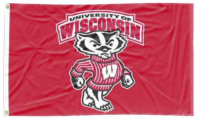 Wisconsin - UW Badgers Red 3x5 Flag
