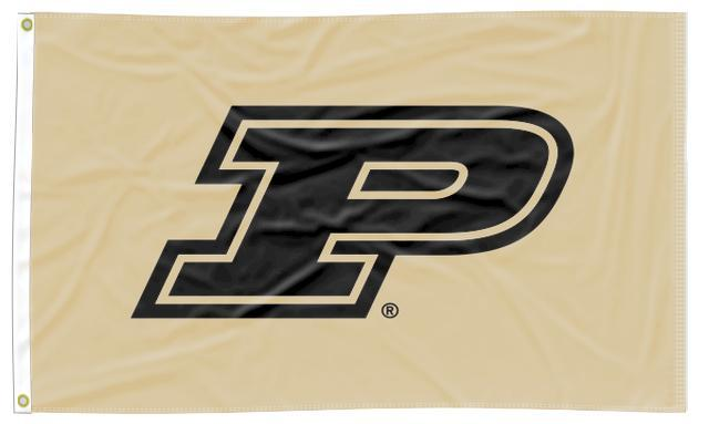 Purdue - Black P Gold 3x5 Applique Flag