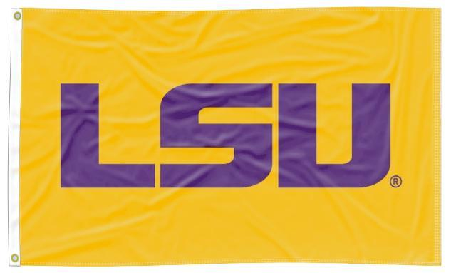 LSU - Tigers Applique Gold 3x5 Flag