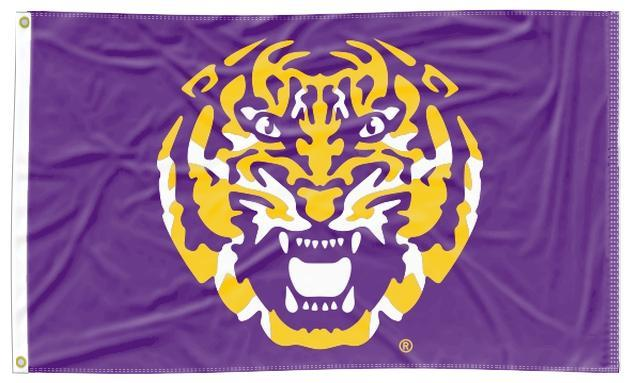 LSU - Tiger Face Purple 3x5 Flag