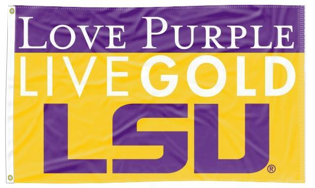 LSU - Love Purple Live Gold 3x5 Flag