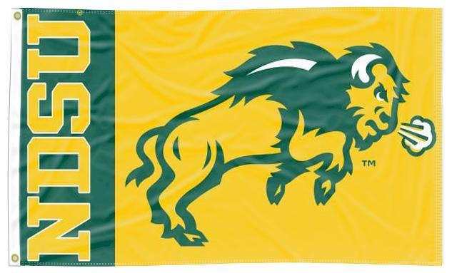 North Dakota State - NDSU Bison Logo Green & Yellow 3x5 Flag