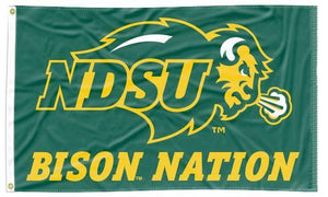 North Dakota State - Bison Nation Green 3x5 Applique Flag