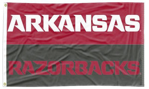 Arkansas - Razorbacks Wordmarks Gray & Red 3x5 Flag