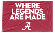 "Load image into Gallery viewer, Alabama - ""Where Legends are Made"" Red 3x5 Flag"