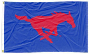 Southern Methodist - Mustangs Blue 3x5 Applique Flag