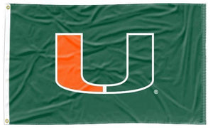 Miami - Hurricanes Green 3x5 Applique Flag