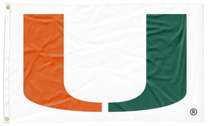 Miami Florida - Hurricanes White 3x5 Flag