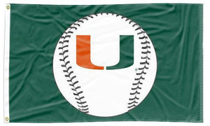 Miami Florida - Hurricanes Baseball Green 3x5 Flag