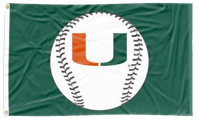 Miami - Hurricanes Baseball Green 3x5 Flag