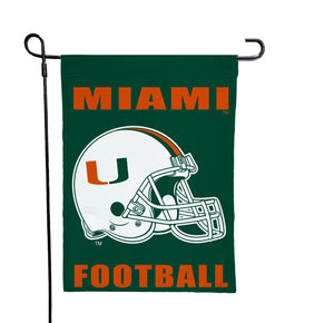 Miami Florida - Hurricanes Football Green Garden Flag