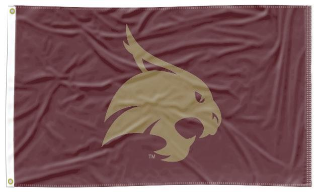 Texas State-San Marcos - Bobcat Maroon 3x5 Applique Flag
