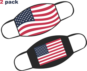 2 Pack USA Flag Face Mask