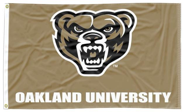 Oakland University - Grizzlies Head Gold 3x5 Flag
