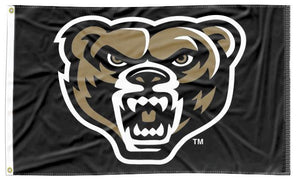 Oakland University - Grizzly Head Black 3x5 Flag