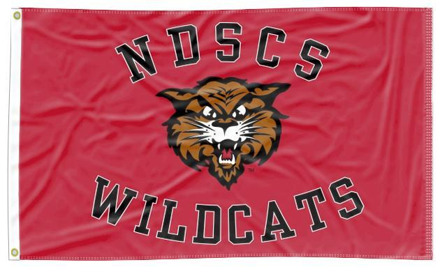North Dakota State College of Science - NDSCS Wildcats Red 3x5 Flag