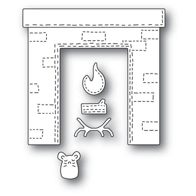 Poppystamps - Dies - Whittle Fireplace