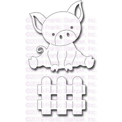 Frantic Stamper - Dies - Cute Piglet In A Pen