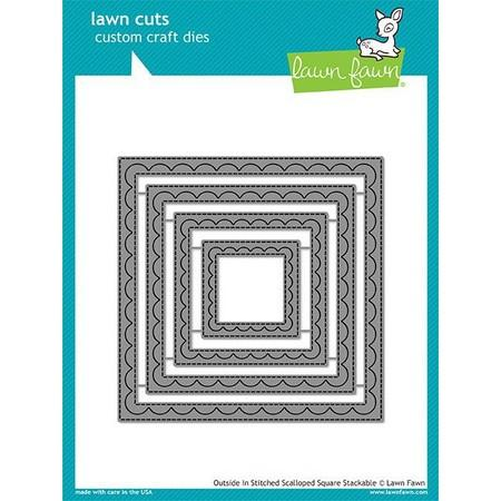 Lawn Fawn - Outside In Stitched Scalloped Square Stackables Dies