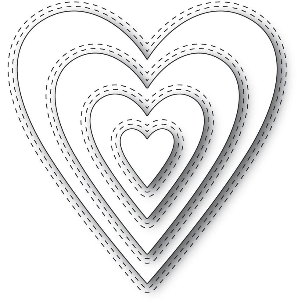 Memory Box - Dies - Double Stitch Happy Heart Cut Out