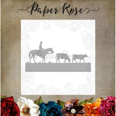 Paper Rose - Dies - Stockman With Cows