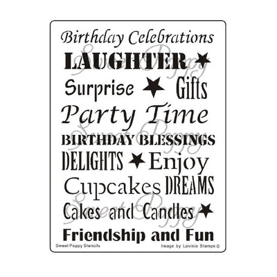 Sweet Poppy - Stencils - Birthday Words