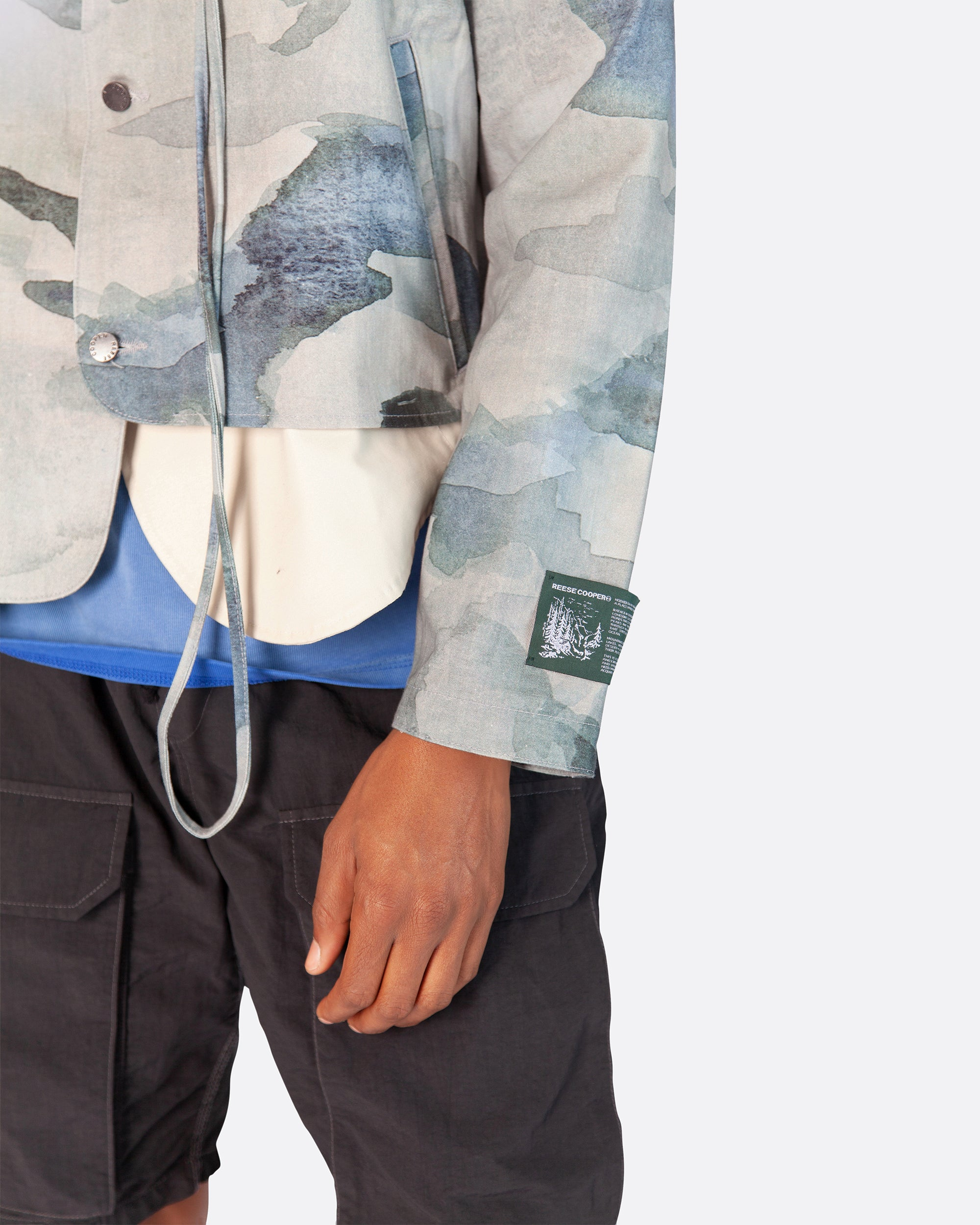 Asymmetrical Linen Hunting Jacket in Water Colour Camo